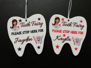 Tooth Shaped Tooth Fairy Hanging Plaque